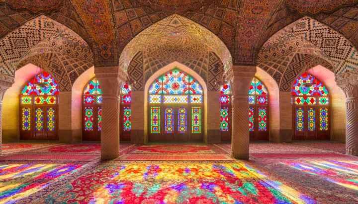 Nasir Al-Mulk Mosque (Pink Mosque) in Shiraz, Iran.