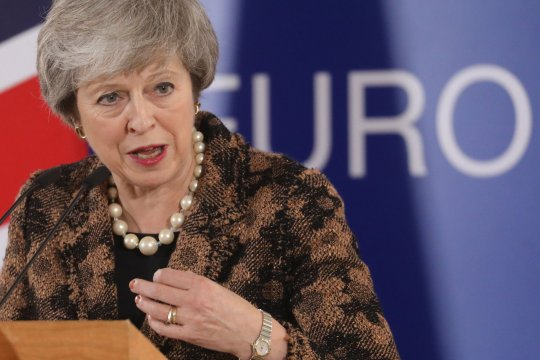Britain's Prime Minister Theresa May speaks during a press conference on December 14, 2018 in Brussels on the second day of a European Summit aimed at discussing the Brexit deal, the long-term budget and the single market. - May says further Brexit talks will take place with EU in coming days, AFP reported on December 14. (Photo by Ludovic MARIN / AFP)LUDOVIC MARIN/AFP/Getty Images